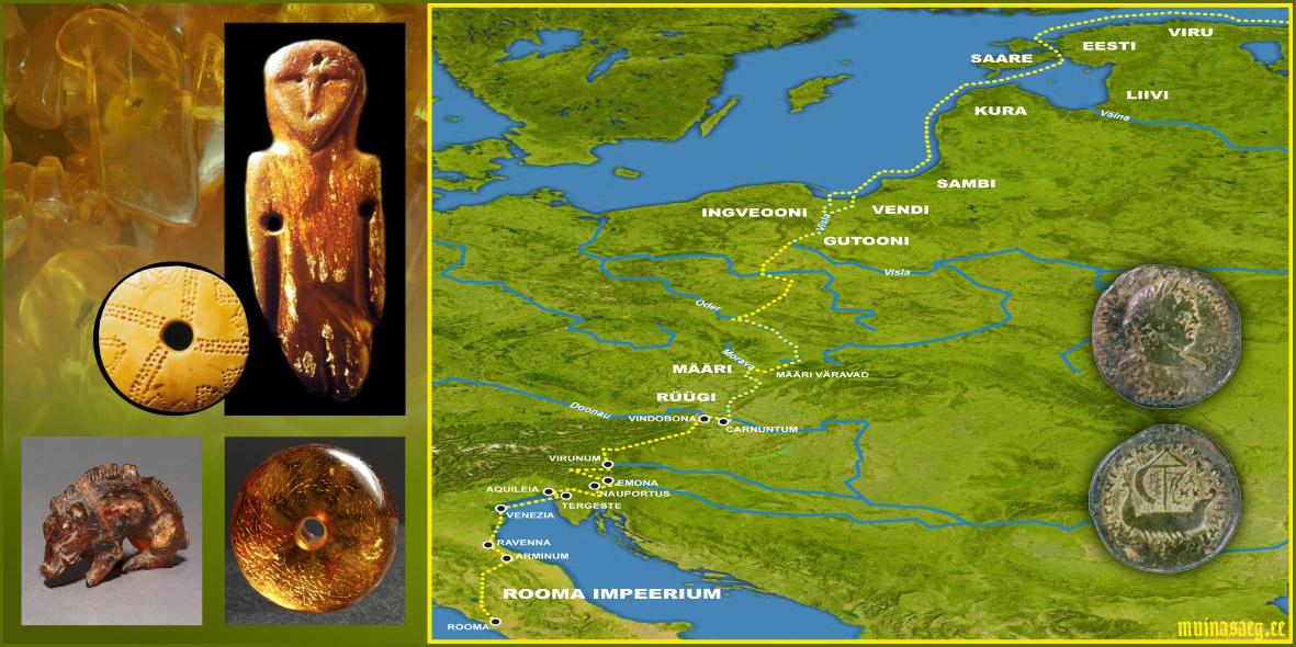 """a69fd36402f Pildil: Merevaigust valmistatud esemed ja muistne Merevaigutee. Eestist  leitud Rooma mündid (2.-3. saj / pilt: M. Kiudsoo """"Viikingiaja aarded  Eestist"""")."""