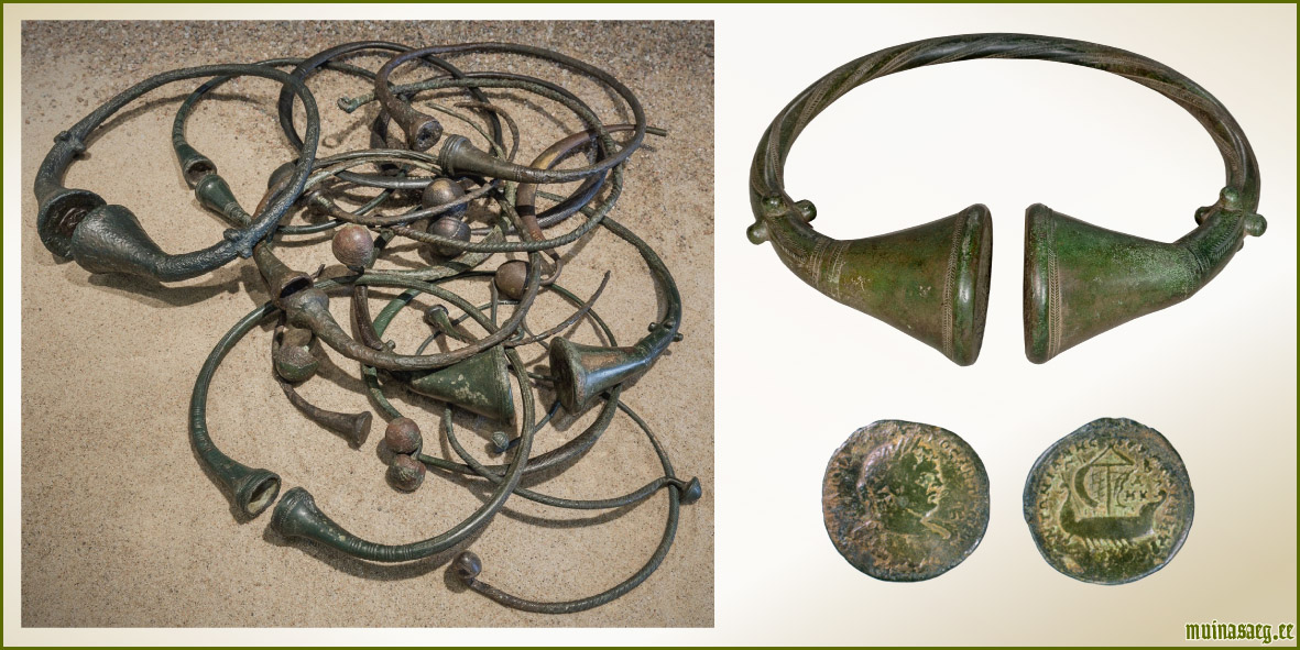 """b9d1110ca2b Pildil: Virumaalt leitud pronksist kaelavõrud (3.-4. saj / pildid:  Arheoloogiamuuseum). Eestist leitud Rooma mündid (2.-3. saj / pilt: M.  Kiudsoo """" ..."""